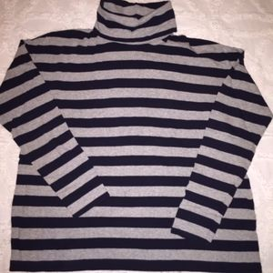 J.Crew Deck Striped Turtleneck Tee, size large